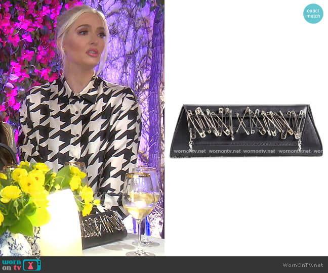 Punk Safety Pin Lambskin Leather Clutch by Saint Laurent worn by Erika Girardi  on The Real Housewives of Beverly Hills