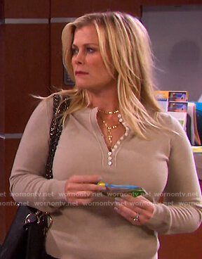 Sami's beige henley sweater on Days of our Lives
