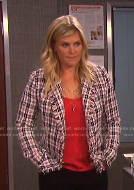 Sami's plaid tweed jacket on Days of our Lives