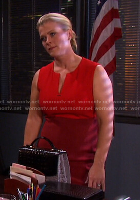 Sami's red colorblock v-neck dress on Days of our Lives