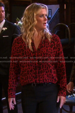 Sami's red leopard print blouse on Days of our Lives