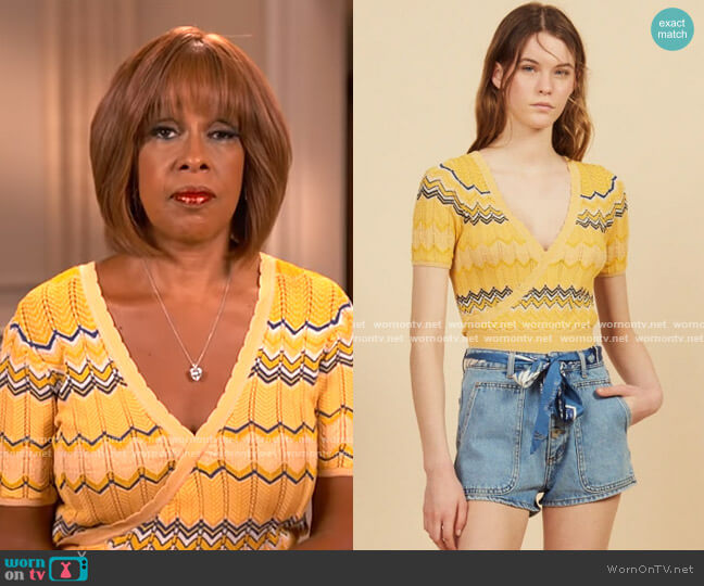 Wrapover Knit Top by Sandro worn by Gayle King  on CBS This Morning