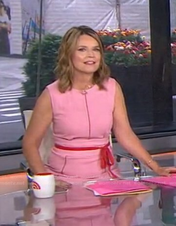 Savannah's pink contrast tie waist dress on Today