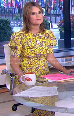Savannah's yellow printed midi dress on Today