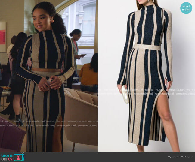 Knitted Top and Lurex Striped Knit Skirt by Self Portrait worn by Kat Edison (Aisha Dee) on The Bold Type