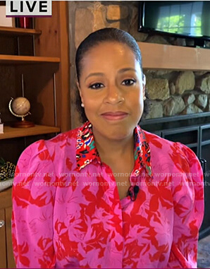 Sheinelle's pink and red floral blouse on Today