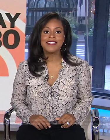 Sheinelle's white python print blouse on Today