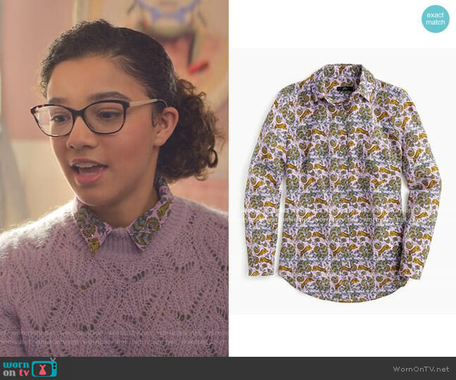 Button up Shirt in Tiger Floral by J. Crew worn by Mary-Anne Spier (Malia Baker) on The Baby-Sitters Club