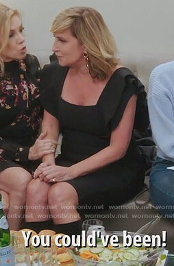 Sonja's black square neck dress on The Real Housewives of New York City