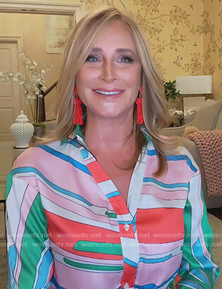 Sonja's multi colored printed shirtdress on The Real Housewives of New York City