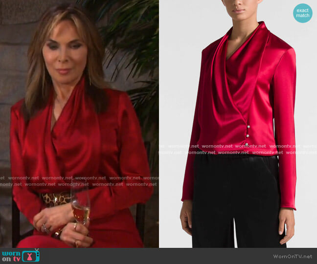 Satin Cowl Neck Wrap Blouse by St. John worn by Kate Roberts (Lauren Koslow) on Days of our Lives