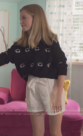 Stacey's black eye embroidered sweater on The Baby-Sitters Club