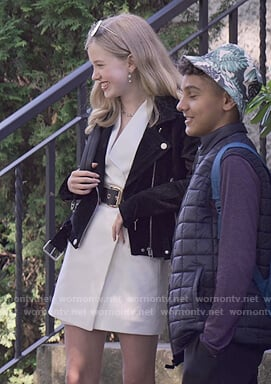 Stacey black suede moto jacket on The Baby-Sitters Club
