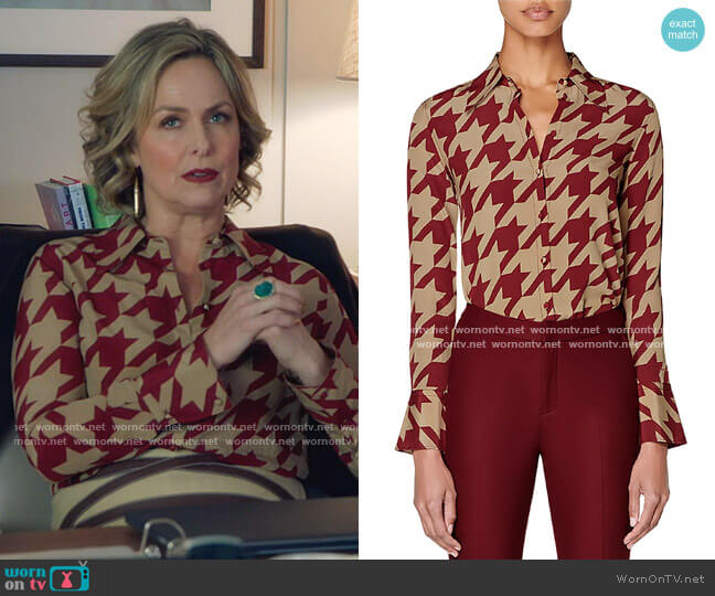 Alec Houndstooth Silk Blouse by Suistudio worn by Jacqueline (Melora Hardin) on The Bold Type
