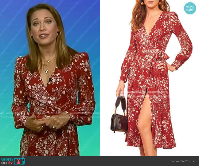 Susanna Wrap Midi Dress by Reformation worn by Ginger Zee  on Good Morning America