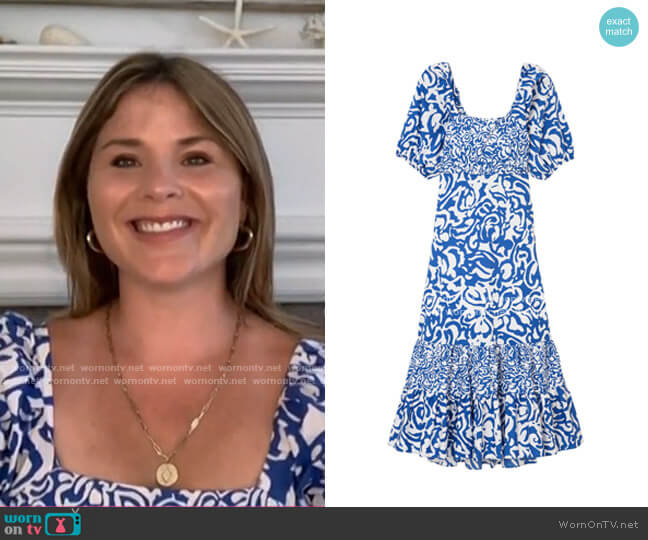Cynthia Printed Poplin Dress by Tanya Taylor worn by Jenna Bush Hager  on Today