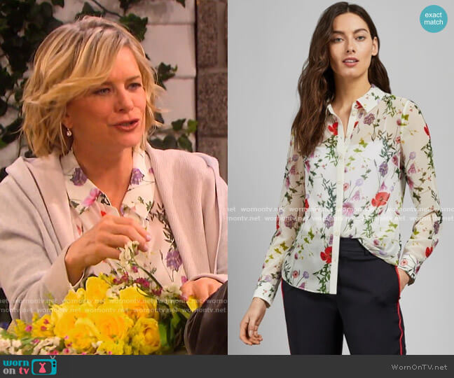 Shivany Hedgerow Blouse by Ted Baker worn by Kayla Brady (Mary Beth Evans) on Days of our Lives