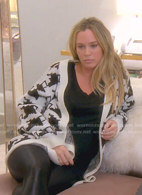 Teddi's black and white cardigan on The Real Housewives of Beverly Hills