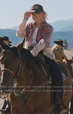Teeter's red ombre plaid shirt on Yellowstone