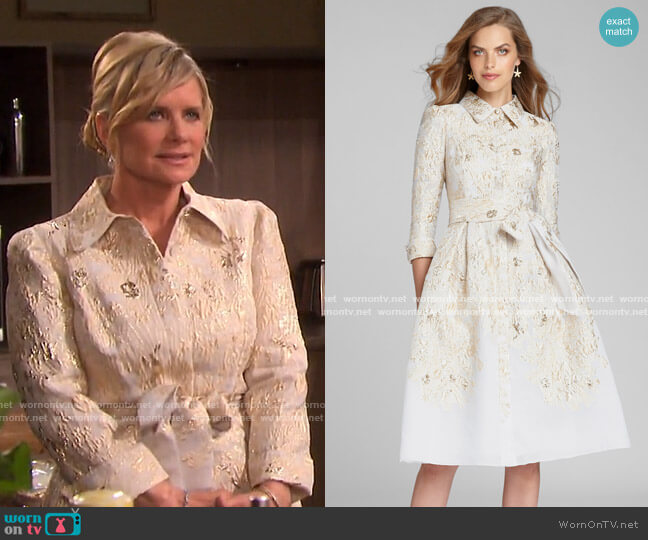 Metallic Jacquard Shirtdress by Teri Jon by Rickie Freeman worn by Kayla Brady (Mary Beth Evans) on Days of our Lives