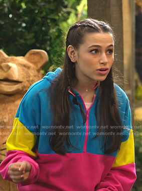 Tess's colorblock half zip hoodie on Bunkd
