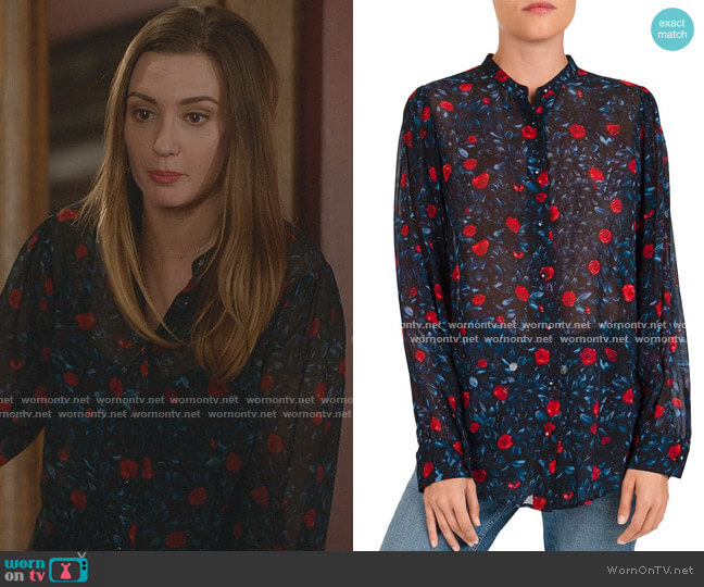 Poison Roses Floral-Print Shirt by The Kooples worn by Joy Harper (Katherine Barrell) on Good Witch