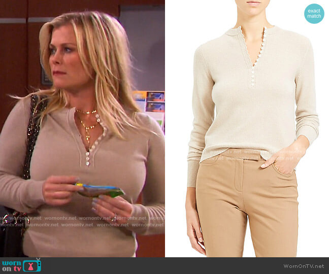 Cashmere Henley Sweater in Oatmeal by Theory worn by Sami Brady (Alison Sweeney) on Days of our Lives