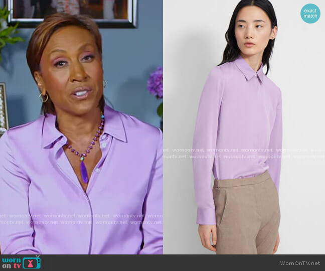 Fitted Shirt In Bright Lilac by Theory worn by Robin Roberts  on Good Morning America
