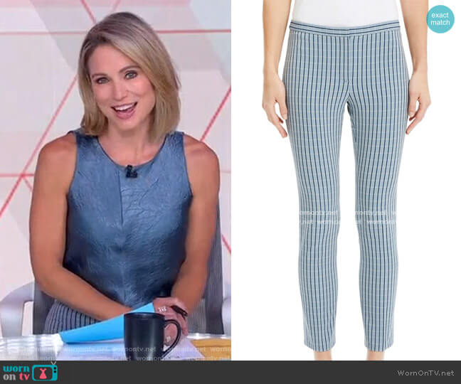 Check Skinny Cropped Pants by Theory worn by Amy Robach  on Good Morning America