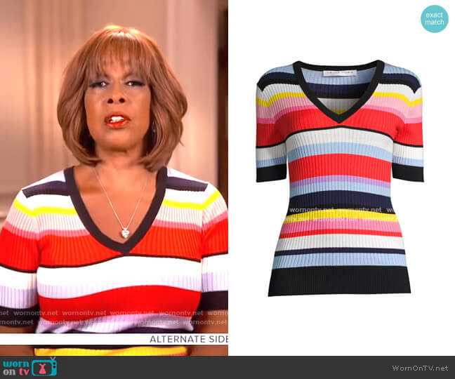 Laurel Sweater by Trina Turk worn by Gayle King  on CBS This Morning