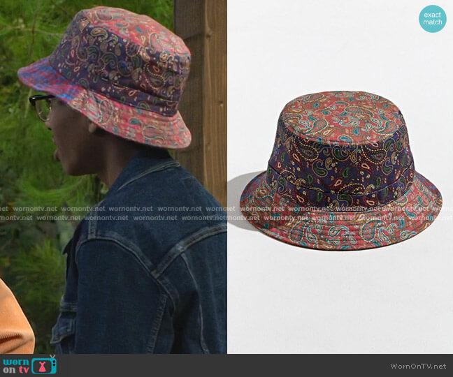 Bandana Print Bucket Hat by Urban Outfitters worn by Noah Lambert (Israel Johnson) on Bunkd