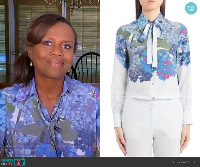 Hydrangea Print Silk Crepe de Chine Tie Neck Blouse by Valentino worn by Deborah Roberts  on Good Morning America