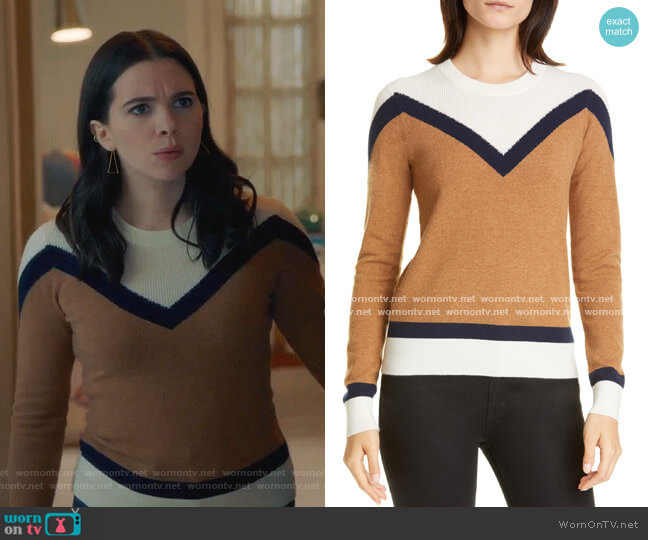 Bradford Stripe Cashmere Sweater by Veronica Beard worn by Jane Sloan (Katie Stevens) on The Bold Type