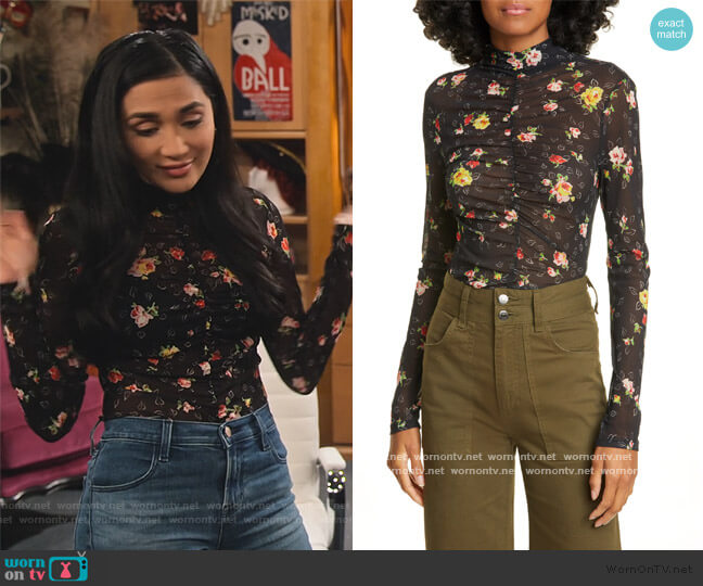 Kanu Ruched Floral Print Mesh Top by Veronica Beard worn by Hina Abdullah on The Expanding Universe of Ashley Garcia worn by Ava Germaine (Chelsea Kane) on The Expanding Universe of Ashley Garcia