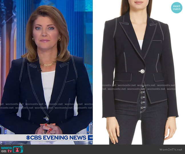 Machenzie Contrast Stitch Dickey Jacket by Veronica Beard worn by Norah O'Donnell  on CBS Evening News