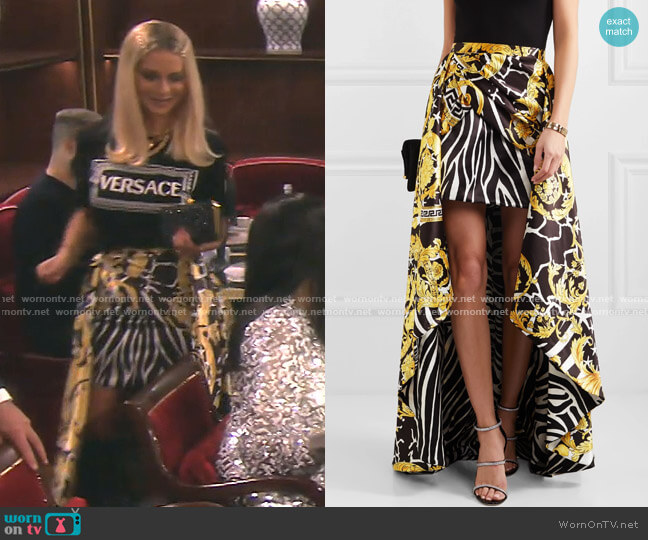Asymmetric Printed Satin Skirt by Versace worn by Dorit Kemsley  on The Real Housewives of Beverly Hills