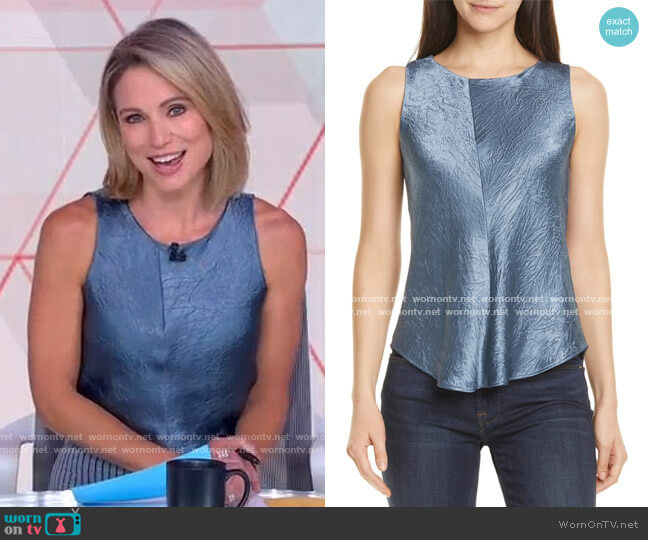 Bias Curve Hem Satin Textured Tank Top by Vince worn by Amy Robach  on Good Morning America