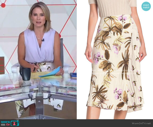 Tropical Garden Midi Skirt by Vince worn by Amy Robach  on Good Morning America