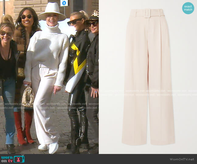 Belted Crepe Wide-Leg Pants by Vince worn by Erika Girardi  on The Real Housewives of Beverly Hills