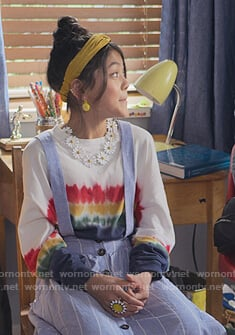 Claudia's white tie dye print sweater on The Baby-Sitters Club