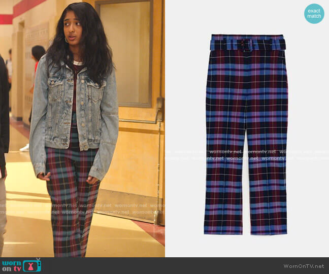 Checked Trousers with Belt by Zara worn by Devi Vishwakumar (Maitreyi Ramakrishnan) on Never Have I Ever