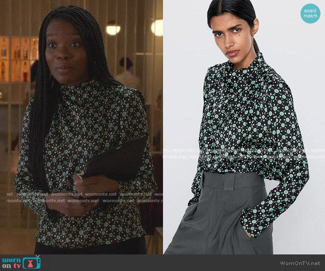 Printed Blouse by Zara worn by Rachel Mutombo on The Bold Type