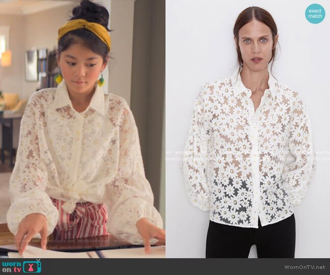 Daisy Shirt by Zara worn by Claudia Kishi (Momona Tamada) on The Baby-Sitters Club