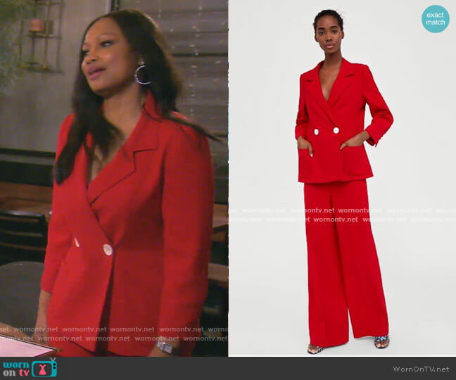 Double Breasted Blazer and Flowing Trousers by Zara worn by Garcelle Beauvais  on The Real Housewives of Beverly Hills