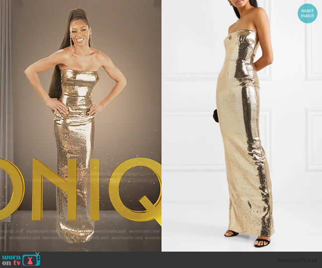 Howard strapless sequined crepe gown by Alex Perry worn by Monique Samuels  on The Real Housewives of Potomac