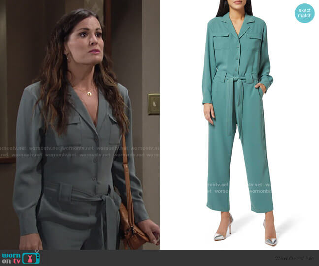 Micki Jumpsuit by Amanda Uprichard worn by Chelsea Lawson (Melissa Claire Egan) on The Young & the Restless