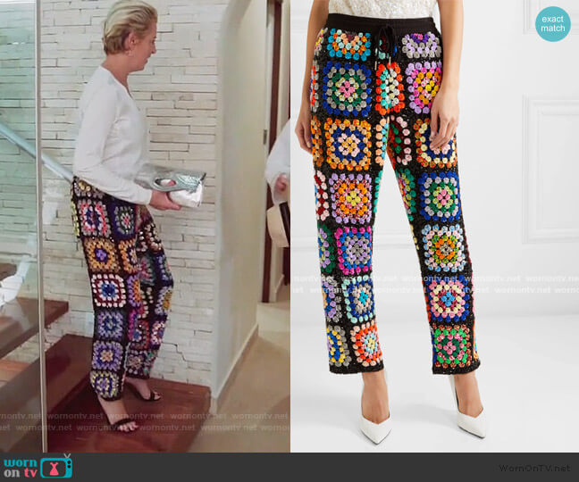 Cropped sequined georgette pants by Ashish worn by Dorinda Medley  on The Real Housewives of New York City