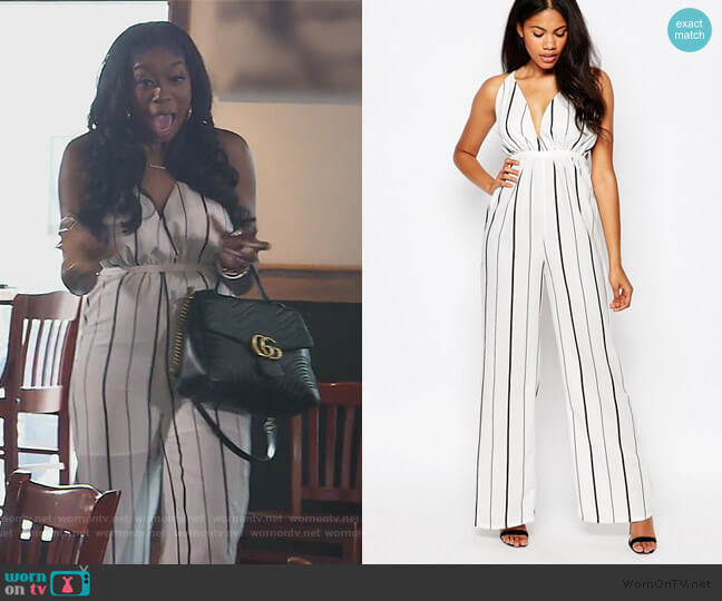 Jumpsuit With Plunge Neck In Stripe by ASOS worn by Wendy Osefo  on The Real Housewives of Potomac