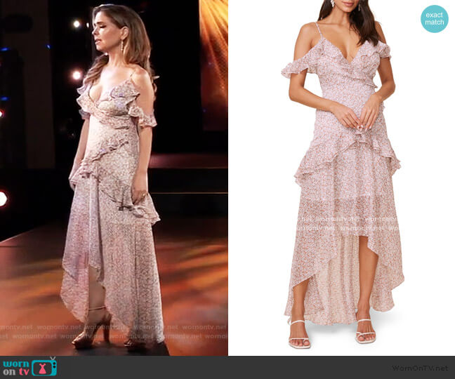 High/Low Tiered Ruffle Maxi Dress by ASTR worn by Olivia Falconeri (Lisa Lo Cicero) on General Hospital