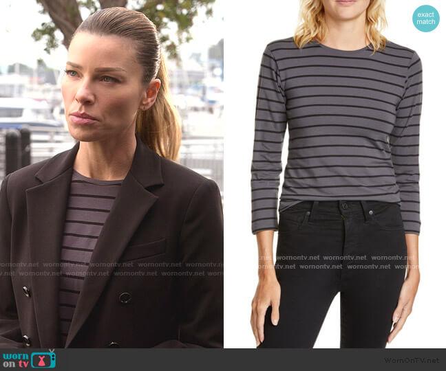 Stripe 3/4 Sleeve T-Shirt by ATM Anthony Thomas Melillo worn by Chloe Decker (Lauren German) on Lucifer